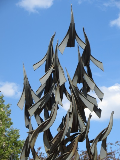 A repeating pattern welded into a Boston sculpture reminds me of soaring birds