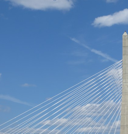 The Zakim Bridge's cables form a vast variation of linear patterns from different angles