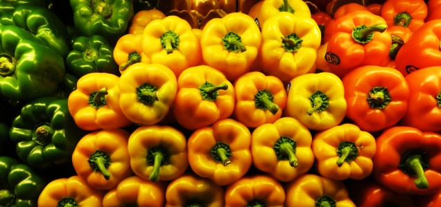 From the side: fresh peppers