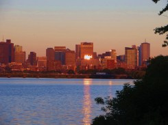 Reflected sunset in Boston